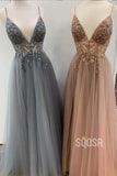 A-line V-neck Spaghetti Straps Tulle Beaded Long Prom Dress QP1137|SQOSA