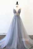 A-line V-neck Spaghetti Straps Tulle Beaded Long Prom Dress QP1137