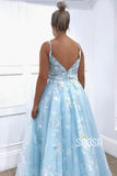 Exquisite Sky Blue Lace Spaghetti Straps V-neck A-Line Long Prom Dress QP1140|SQOSA