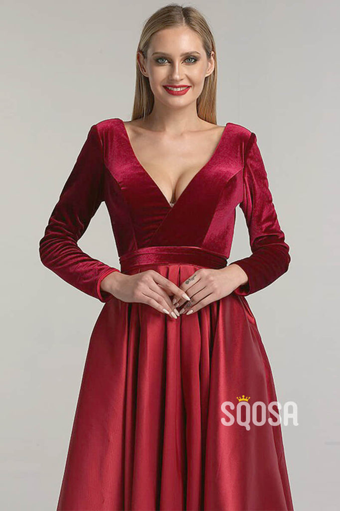 Burgundy Satin V-neck Velevt Long Sleeve A-Line Long Prom Dress with Pockets QP1162|SQOSA