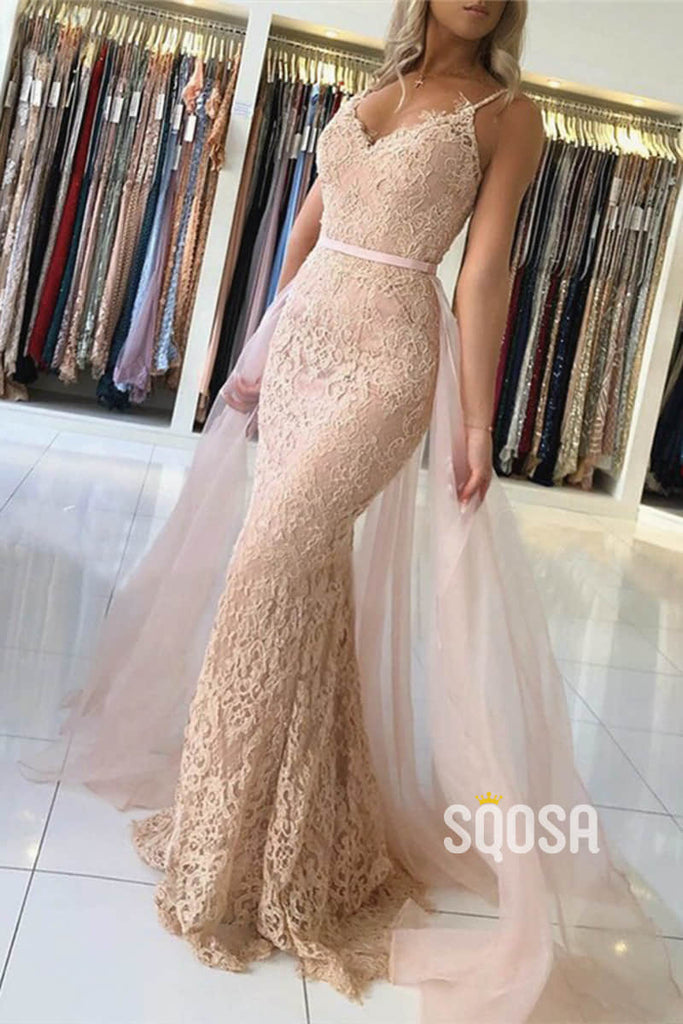 Mermaid/Trumpet Prom Dress Spaghetti V-neck Lace Beaded Evening Gowns QP1167|SQOSA