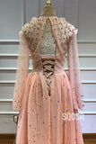 Pink Tulle Illusion Long Sleeve 3D Appliques A-line Prom Dress QP1169|SQOSA