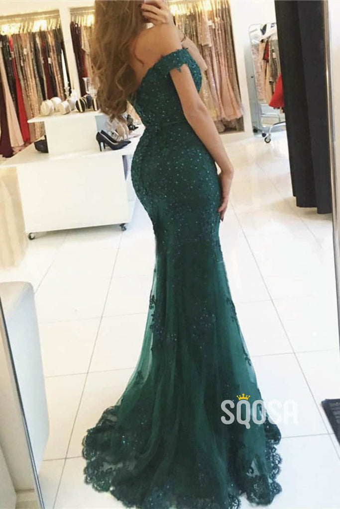 Burgundy Lace Beaded Off-the-Shoulder Mermaid Prom Dress QP1177