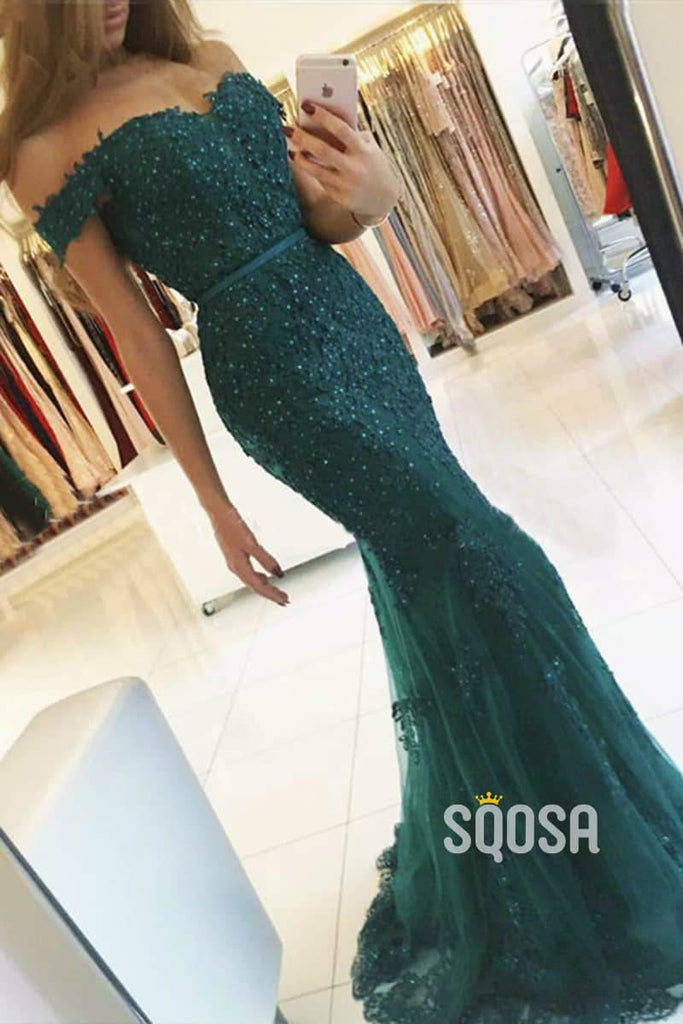 Burgundy Lace Beaded Off-the-Shoulder Mermaid Prom Dress QP1177|SQOSA