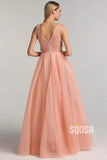 A-line V-neck 3D Appliques A-Line Long Prom Dress QP1195|SQOSA