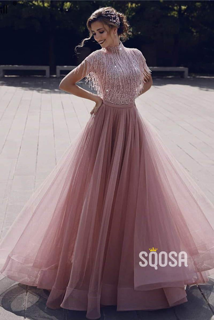 A-Line High Neck Beaded Pink Tulle Long Prom Dress QP1198|SQOSA