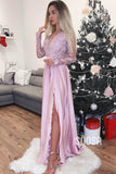 A-line V-neck Illusion Long Sleeves Long Prom Evening Dress with Slit QP1201