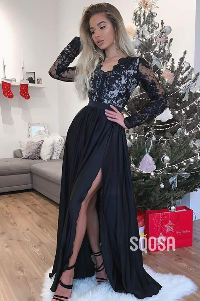 A-line V-neck Illusion Long Sleeves Long Prom Evening Dress with Slit QP1201|SQOSA