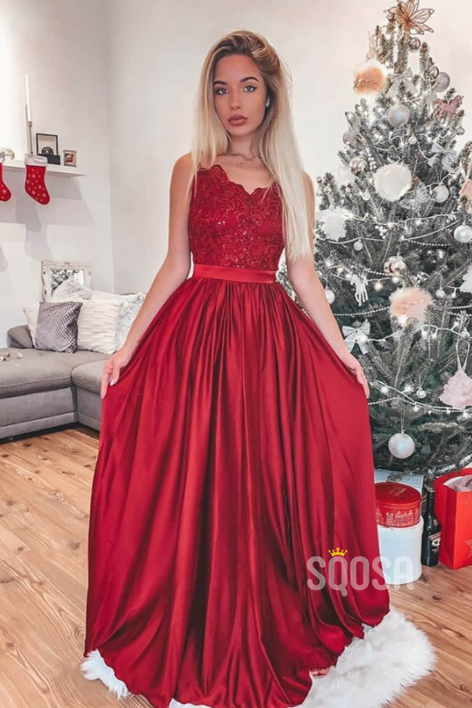 A-Line Red Satin V-neck Lace Top Long Prom Dress QP1205|SQOSA
