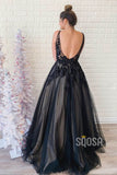 A-Line V-neck Spaghetti Straps Black Tulle Appliques Long Prom Dress QP1211|SQOSA