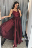A-line V-neck Burgundy Satin Long Evening Dress with Slit Prom Dress QP1218B