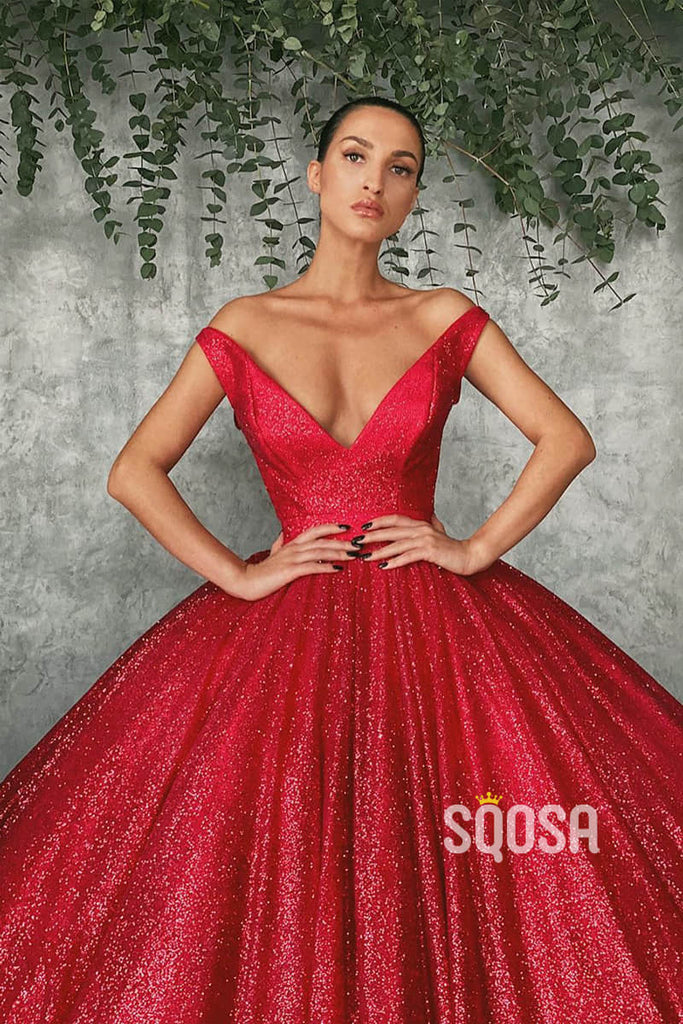Ball Gown Off-the-Shoulder Red Sequins Long Evening Dress Prom Gowns QP1223|SQOSA