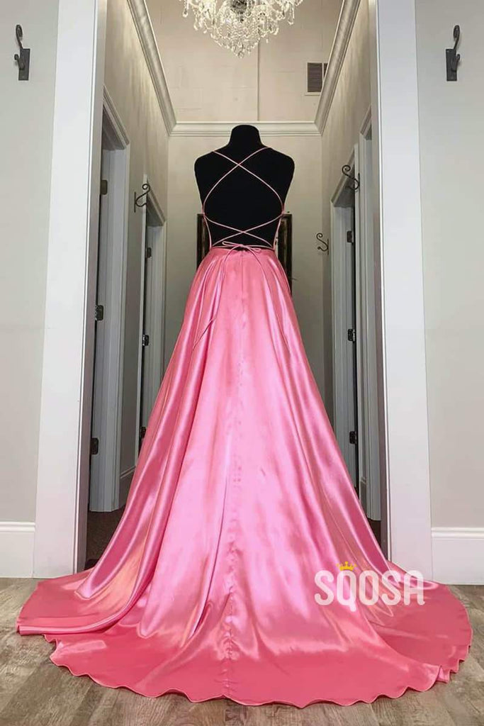 A-Line V-neck Pink Elastic Satin Long Prom Dress with Slit QP1225|SQOSA