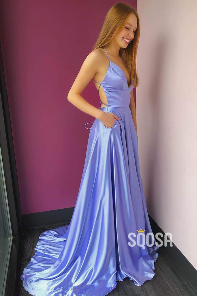 Lilac Satin A-Line V-neck Spaghetti Straps Long Prom Dress with Pockets QP1226|SQOSA