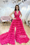 Hot Pink Tulle Appliques V-Neck A-line Long Prom Dress with Slit QP1227|SQOSA