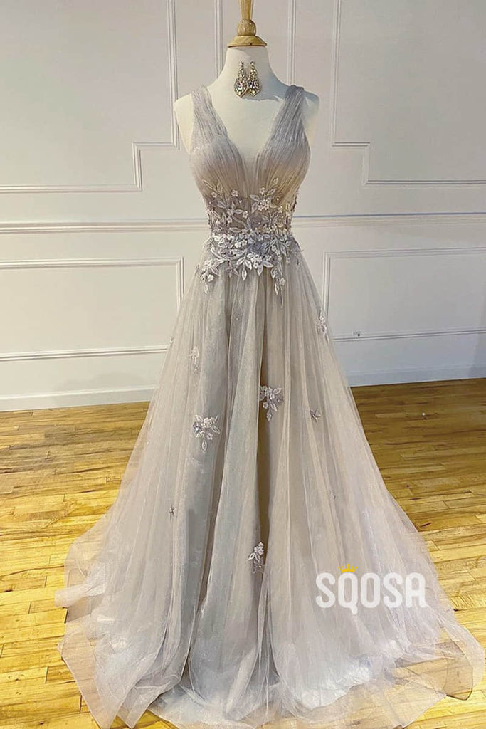 A-Line V-neck Grey Tulle Appliques Long Prom Dress QP1228|SQOSA