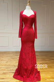 Sheath/Column Prom Dress Burgundy Lace V-neck Long Sleeves Evening Gowns QP1229|SQOSA