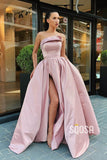 Pink Satin Strapless A-Line Long Prom Dress with Slit QP1230|SQOSA