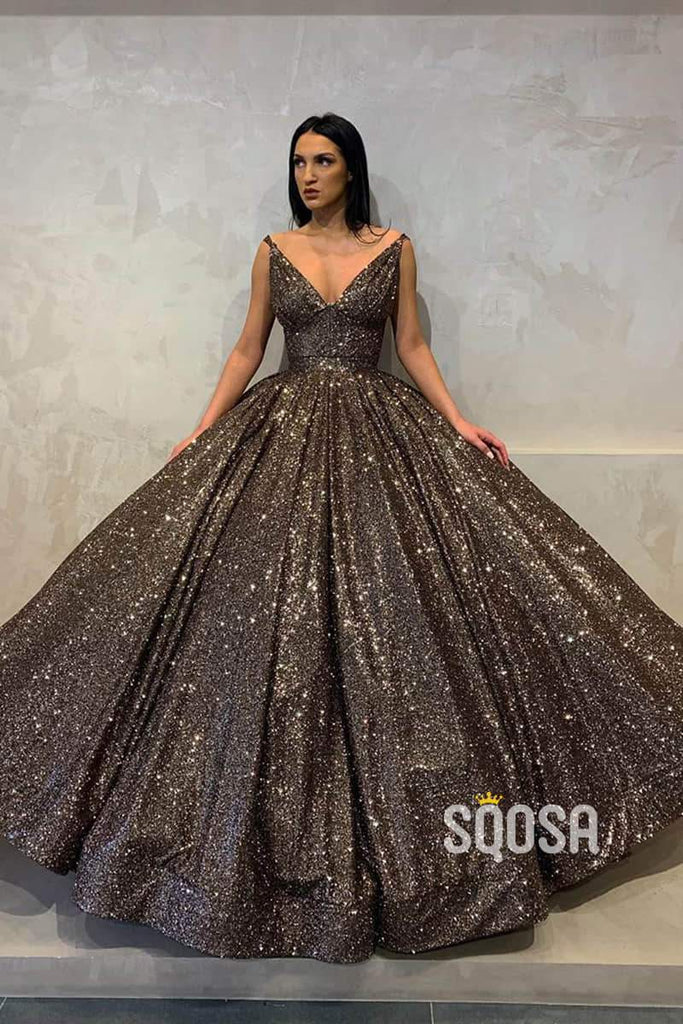 Ball Gown V Neck Cap Sleeves Sequins Long Prom Dress Formal Evening Gowns QP1234|SQOSA