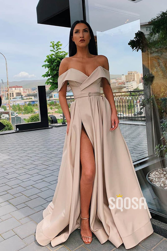 A-Line Off-the-Shoulder High Split Long Prom Dress with Pockets QP1235