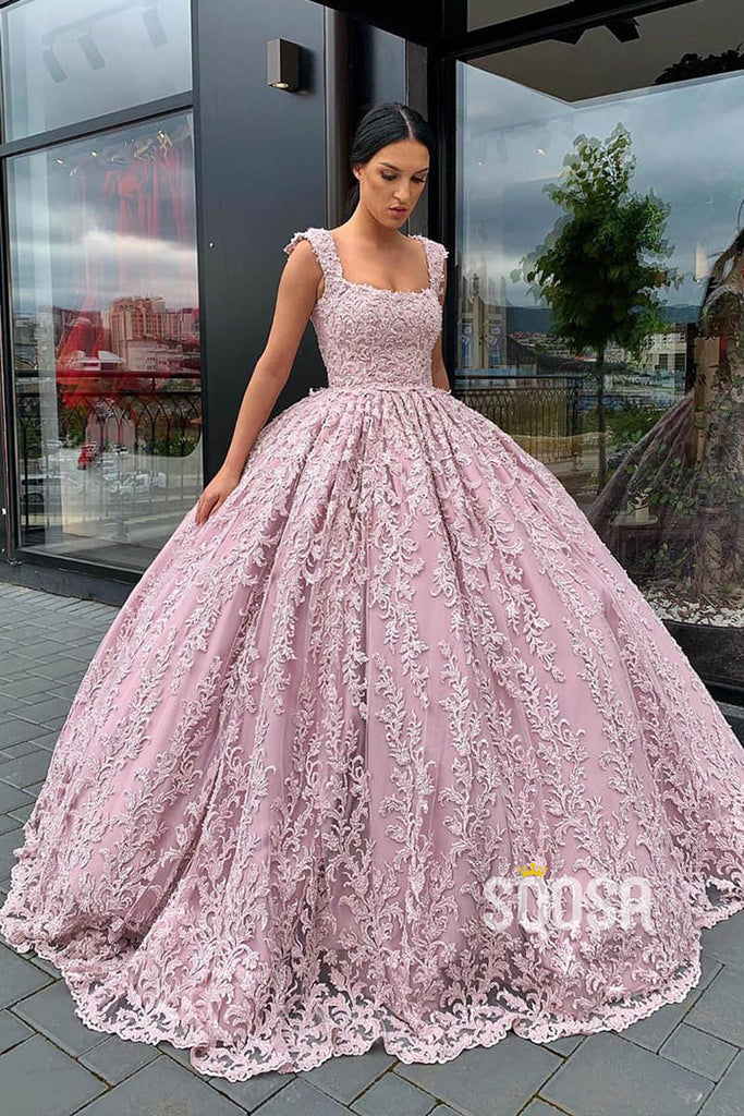Ball Gown Dusty Pink Lace Scoop Long Prom Dress Formal Evening Gowns QP1237|SQOSA