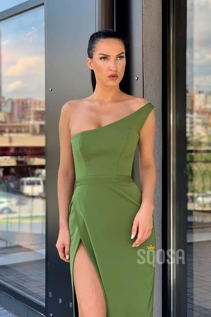 Sheath/Column Prom Dress One Shoulder Long Evening Dress with Slit QP1242|SQOSA