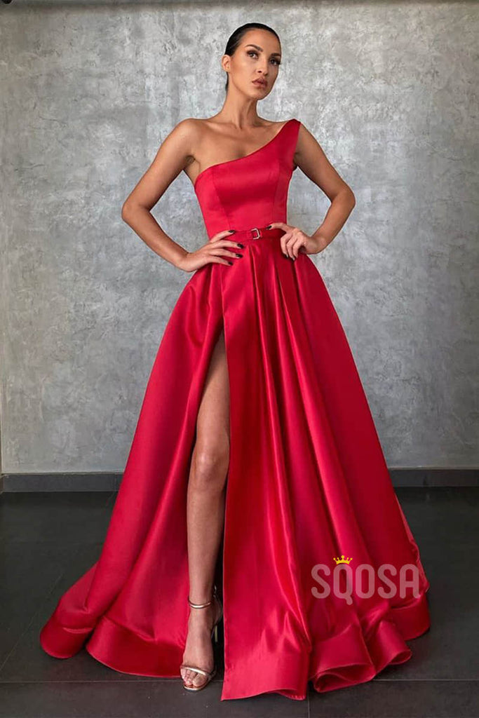 A-line Red Satin One Shoulde High Split Long Prom Dress with Pockets QP1248|SQOSA