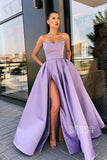 A-Line Strapless Lilac Satin High Split Long Prom Dress with Pockets QP1251|SQOSA