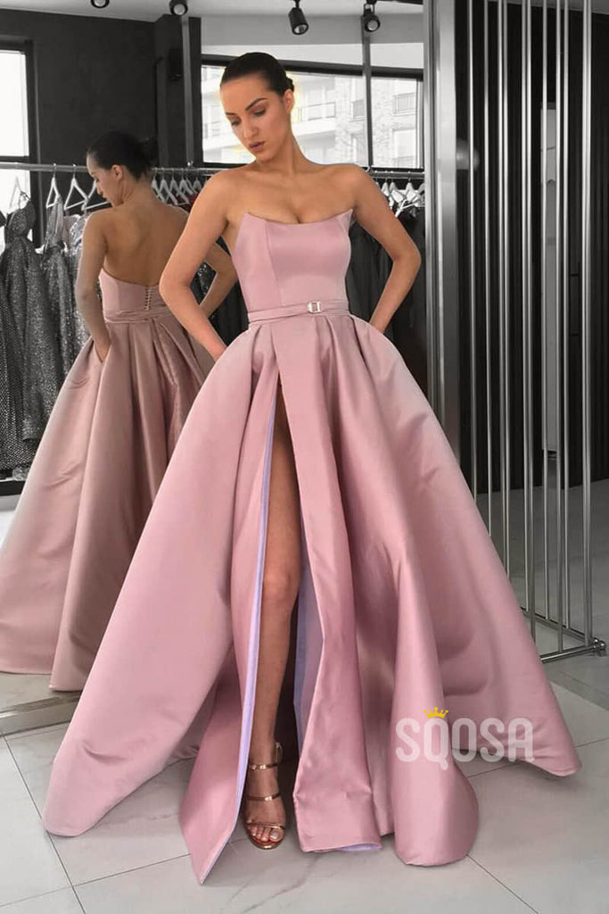 A-Line Strapless Lilac Satin High Split Long Prom Dress with Pockets QP1251