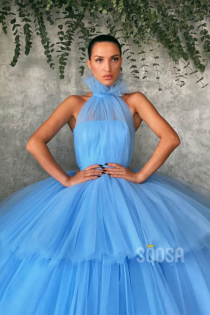 Ball Gown Sky Blue Tulle High Neck Long Prom Dress Formal Evening Gowns QP1252|SQOSA