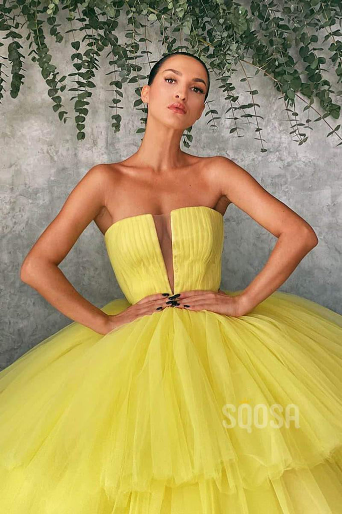 Ball Gown Strapless Yellow Tulle Long Prom Dress QP1253|SQOSA