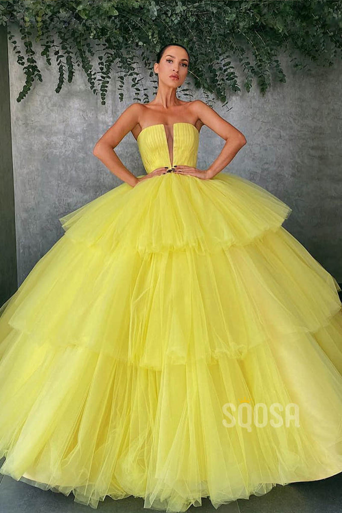 Ball Gown Strapless Yellow Tulle Long Prom Dress QP1253