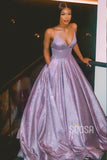 A-Line V-neck Spaghetti Straps Long Sparkle Prom Dress with Pockets QP1264