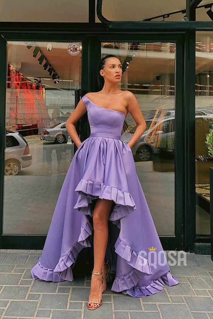 Asymmetrical One Shoulder Lilac Satin High Low Prom Dress QP1275