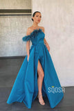 A-Line Blue Satin Strapless Chic Feather Long Prom Dress with Slit Evening Gowns QP1279|SQOSA