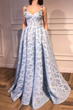 A-Line Sweetheart 3D Appliques Straps Lace Prom Dress with Pockets QP1280