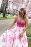 A-line V-neck Spaghetti Straps Floral Two Piece Prom Dress QP1282