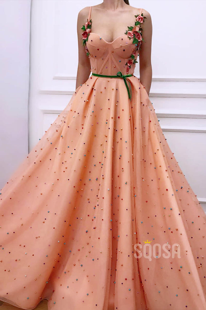 A-Line Sweetheart 3D Appliques Straps Orange Tulle Beaded Long Prom Dress with Pockets QP1284|SQOSA