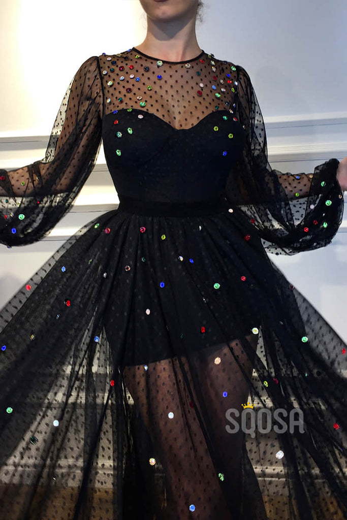 A-Line Jewel Neckline Black Tulle Beaded Long Prom Dress with Sleeves Formal Evening Gowns QP1290|SQOSA