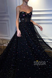 A-Line Sweetheart Black Tulle Beaded Long Prom Dress Formal Evening Gowns QP1291|SQOSA