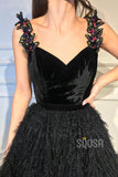 A-Line V-neck Black Tulle Appliques Long Prom Dress Formal Evening Gowns QP1293|SQOSA