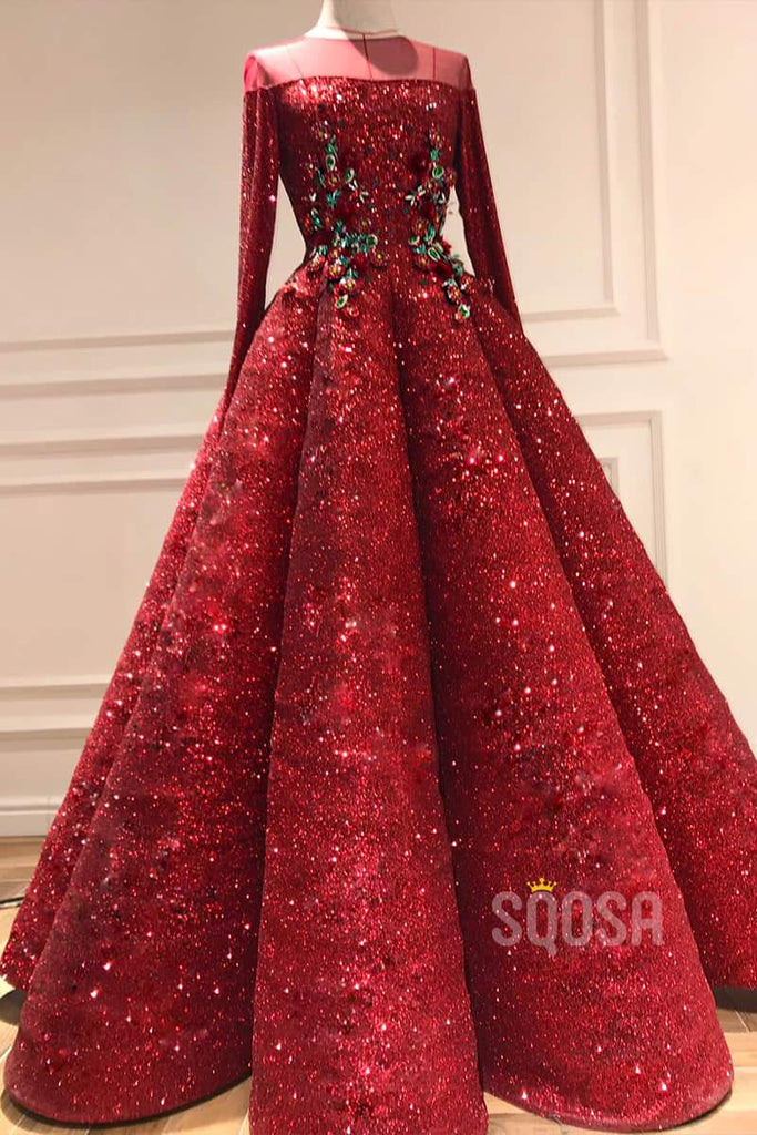 A-Line Illusion Jewel Neckline Long Sleeves Burgundy Sparkle Prom Dress QP1295|SQOSA