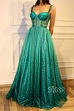 A-line Sweetheart Spaghetti Straps Long Sparkle Prom Dress QP1296|SQOSA