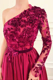 A-line One Shoulder Appliques Long Sleeves Long Prom Dress with Slit QP1298