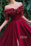 A-line Burgundy Tulle Off-the-Shoulder Appliques Long Formal Evening Dress with Slit QP1304|SQOSA