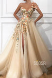 A-line One Shoulder Tulle Appliques Long Prom Dress with Slit QP1307