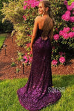 Purple Sequins Spaghetti Straps Scoop Sheath/Column Prom Dress with Slit QP1315
