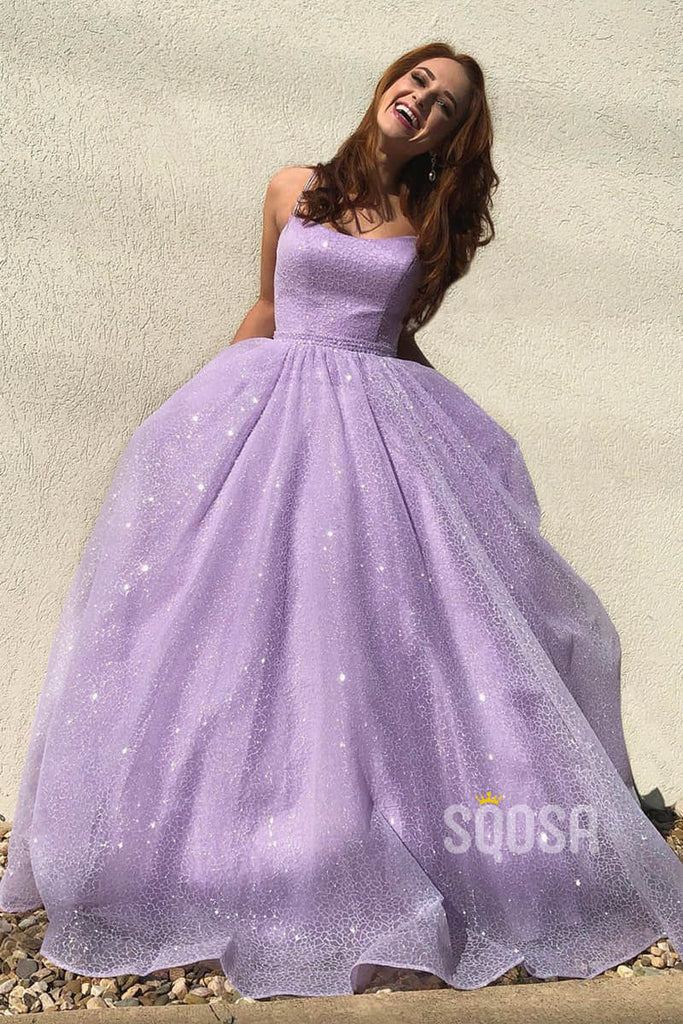 A-Line Lilac Tulle Scoop Spaghetti Straps Sparkle Prom Dress with Pockets QP1318|SQOSA