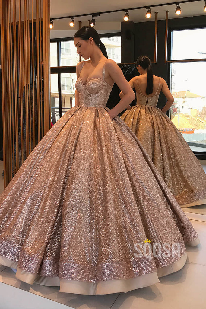 Ball Gown Gold Sequins Sweetheart Long Prom Dress with Pockets Formal Evening Gowns QP1324