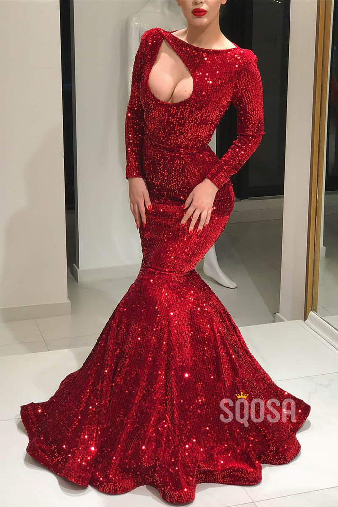 Mermaid/Trumpet Evening Dress Burgundy Sequined Long Sleeve Formal Dress QP1325|SQOSA